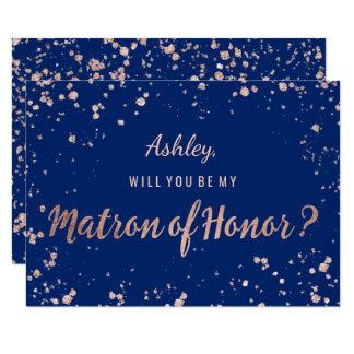 Carte Dame de honneur rose de bleu marine de confettis