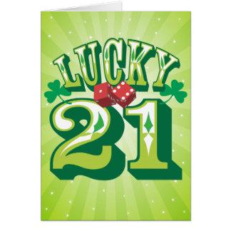 Carte d'anniversaire 21 chanceuse
