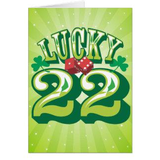 Carte d'anniversaire 22 chanceuse