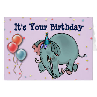 Carte d'anniversaire avec l'éléphant et gâteau