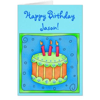 Carte d'anniversaire bleue avec le gâteau