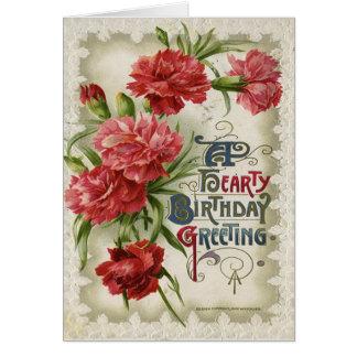 Carte d'anniversaire chaleureuse florale vintage