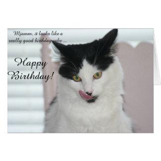 Carte d'anniversaire : Chat prêt à apprécier un