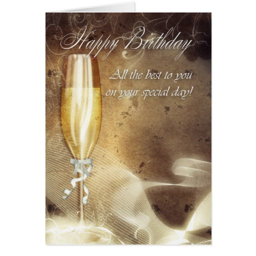 Carte d 39 anniversaire chique d 39 affaires champagne zazzle - Chique campagne ...