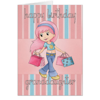 Carte d'anniversaire d'achats de petite-fille -