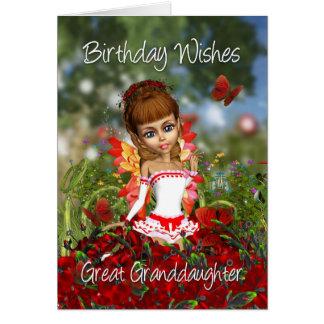 Carte d'anniversaire d'arrière-petite-fille avec