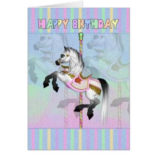carte d'anniversaire de carrousel - cheval en