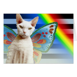 Carte d'anniversaire de chat de la fée | Devon Rex