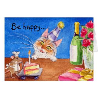 Carte d'anniversaire de chat et de souris