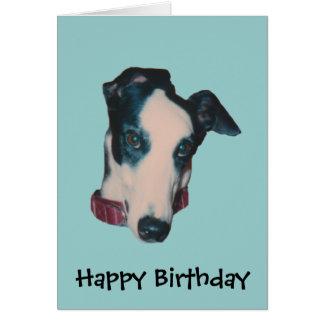 Carte d'anniversaire de chien de visage de lévrier
