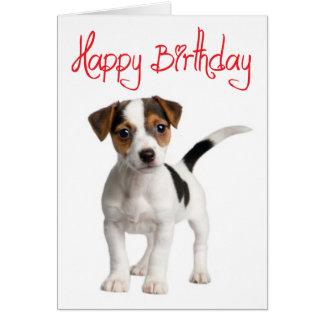 Carte d'anniversaire de chiot de Jack Russell