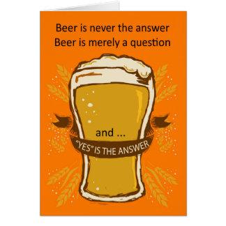 Carte d'anniversaire de citation de bière, bière