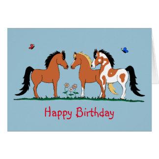 Carte d'anniversaire de copains de cheval de