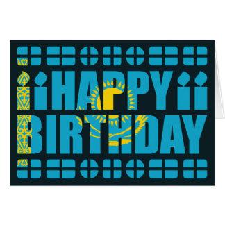 Carte d'anniversaire de drapeau de Kazakhstan