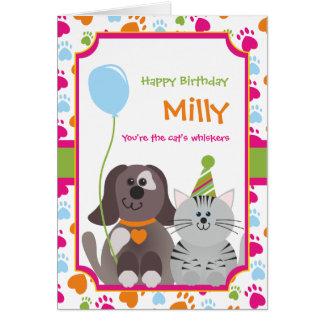 Carte d'anniversaire de enfant des favoris du chat