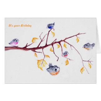 Carte d'anniversaire de feuille d'automne