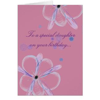 Carte d'anniversaire de fille avec l'art de fleur