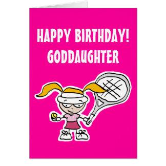Carte d'anniversaire de filleule avec la fille