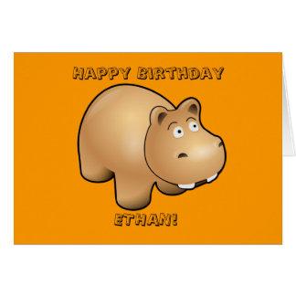 Carte d'anniversaire de l'hippopotame de l'enfant
