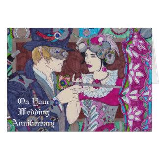 Carte d'anniversaire de mariage de Steampunk
