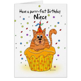 carte d'anniversaire de nièce avec le chat de