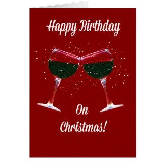 Carte d'anniversaire de Noël grillant des verres