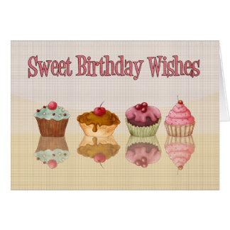 Carte d'anniversaire de petit gâteau - souhaits