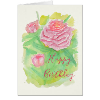 Carte d'anniversaire de pivoines d'aquarelle