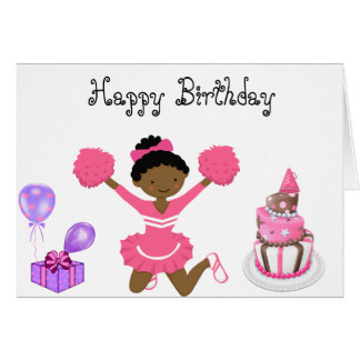 Carte d'anniversaire de pom-pom girl aa