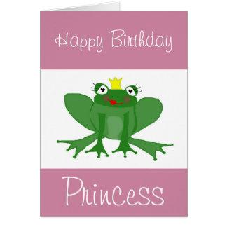 Carte d'anniversaire de princesse Frog