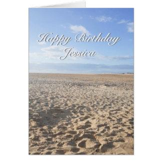 Carte d'anniversaire de scène de plage