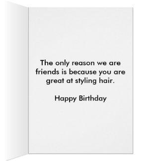 Carte d'anniversaire de styliste en coiffure
