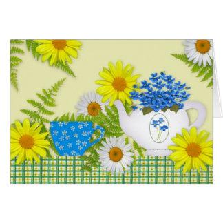 Carte d'anniversaire de thé de jardin