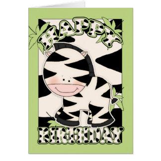 carte d'anniversaire de zèbre d'amusement de