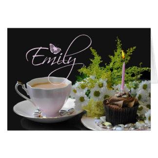 Carte d'anniversaire d'Emily, rose avec buttefly
