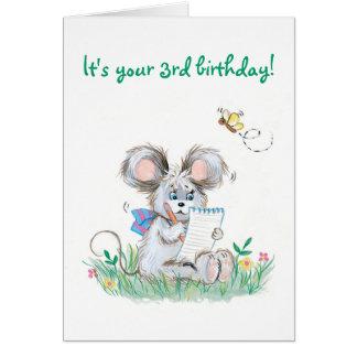 Carte d'anniversaire d'enfants mignons de lapin