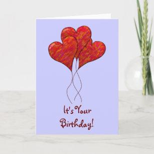 Carte d'anniversaire des ballons du coeur rouge