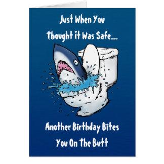 Carte d'anniversaire drôle de requin de toilette