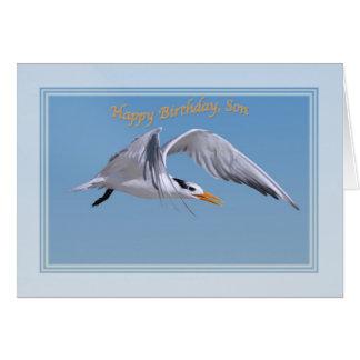 Carte d'anniversaire du fils avec l'oiseau royal