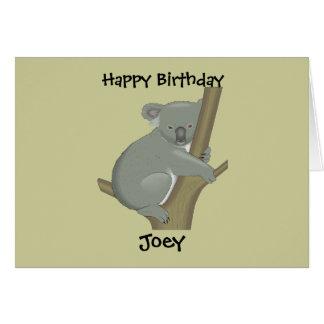 Carte d'anniversaire du koala de l'enfant