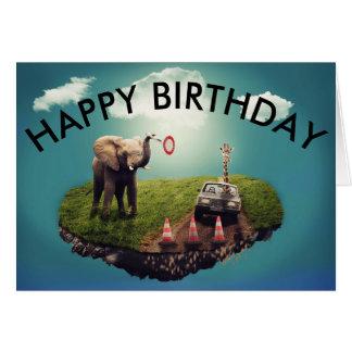 Carte d'anniversaire - éléphant et girafe