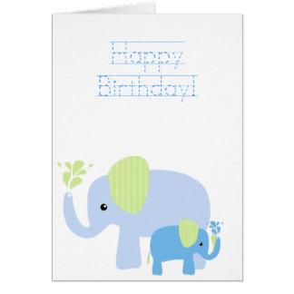 Carte d'anniversaire exaltée d'éléphants (avec la