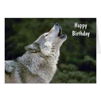 Carte d'anniversaire faite sur commande de loup
