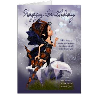 Carte d'anniversaire féerique - bulles de