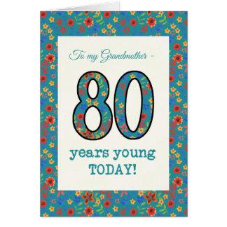 Carte d'anniversaire florale, 80 ans de grand-mère