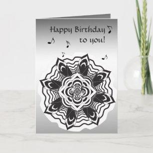 Carte d'anniversaire florale Mandala Black Silver