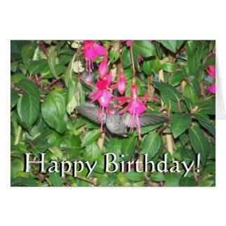 Carte d'anniversaire fuchsia de colibri