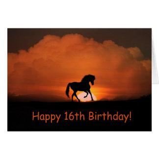 Carte d'anniversaire heureuse de cheval 16ème