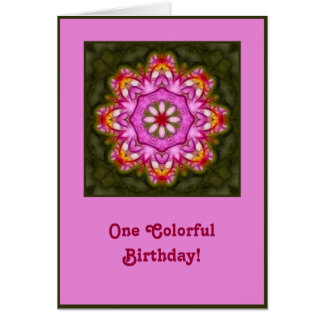 Carte d'anniversaire magenta de mandala