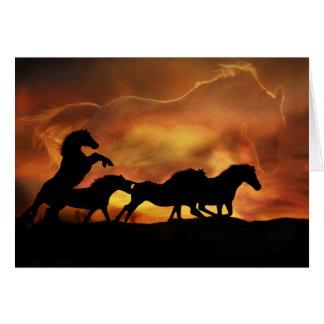 Carte d'anniversaire merveilleuse avec des chevaux